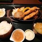 121254163 - ハンバーグ&シーフードフライ定食