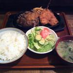 12128955 - ステーキとアジフライの定食
