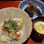 Takezaki - 枝豆と生姜ご飯、焼き鱧茗荷載せ