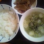 12129097 - 定食のご飯・スープ・ザーサイ