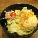 そしがやカレー - ポテトサラダと生野菜のサラダ