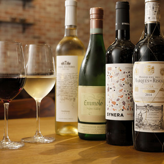 豊富なワイン◎グラスワインは、オールタイム常時7種類以上!