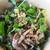 スタンドバインミー - 料理写真:魚介のダシの幅広麺 鴨のコンフィ乗せ、パクチー、ミント、紫玉ねぎたっぷり、フレッシュオレガノの香りも。ダシの味が超美味!¥880