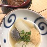 Yakitorihibikiambekkan - お通しのおでん。味噌をつけていただきます。