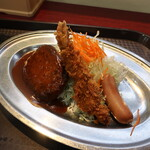 レストラン ポパイ - ウィンナー + 海老フライ + ハンバーグ