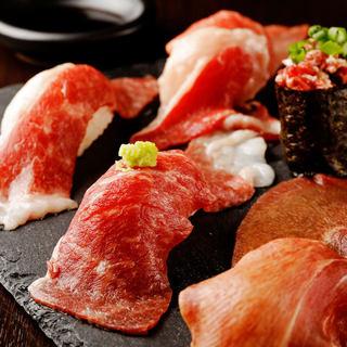 さつま知覧どりや黒毛和牛、馬肉を使用した自慢の肉寿司