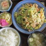 ドライブイン丸山 - 料理写真:ホルモン炒め定食