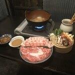 泡組 熊谷店 - 白金豚&黒毛和牛しゃぶセット。                                 美味し。