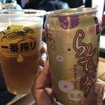 121463866 - 嵐電麦酒400円と生ビール500円