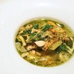 Bonshuman - 野菜の料理 スープ ガルビュール風ポタージュ イワシのポワレ添え