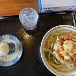 上野製麺所 - かけうどん小・エビかき揚げ・おにぎり