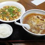 12157069 - Cセット(麻婆豆腐、葱ラーメン、小ライス、漬物)【2012/03/1*】