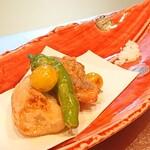割烹 いま村 - エビ芋と鯛の唐揚げ