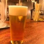 ラーメンバル ゆきかげ - 生ビール(500円)