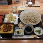 121586970 - 『大安スペシャル¥2,200』「ざる蕎麦」「天ぷら」「鰻丼」のセットです