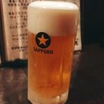 鳥王 - 生ビール(中) 480円