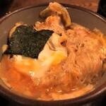 121625545 - かつ丼には海苔が添えてあります♪ お出汁が効いた割り下で卵がふんわり、カツは小さいですが美味しいですとても♬