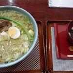 おらほの温泉 - 料理写真:塩麹ラーメン大盛り750円とへっちょこ団子400円