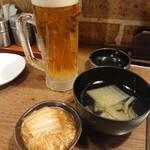 天下鶏 - 2019年11月 ドライプレミアム豊穣+お通し+サービスのスープ 450円