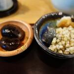 黙坊 - 花豆甘煮、ヌキと寒天の和え物