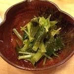 正寿司 - 山葵菜おひたし。