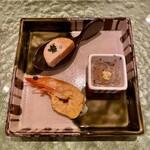 寿司 赤坂 - あん肝・車海老の黄身・白魚