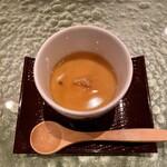 寿司 赤坂 - あさりとネギの茶碗蒸し