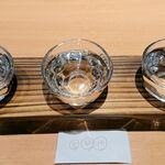 121699925 - よりどり三酒「田酒 純米吟醸 酒こまち」「陸奥八仙 シルバー 吟醸あらばしり生」「豊盃 純米吟醸」