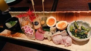 京都のうまいもんとおばんざい 市場小路 ジェイアール京都伊勢丹店 - 京三昧おばんざい盛り合わせ