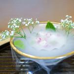 京懐石 吉泉 - バナナとミルクのジュレ、 ハチミツの泡