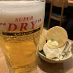 手羽先専門店 はねあげ - 生ビール、ボテサラ
