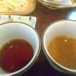 水沢うどん 松島屋 - ノーマル醤油、ごまだれ。