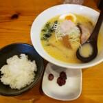 麺や七福 - 味噌ラーメン+小ライス2019.12.13