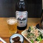 丸福 - 料理写真:ビール+お通し+小松菜おひたし