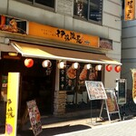 伊藤課長 - 神田ふれあい通り沿いに黄色い看板