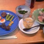らく万 - コース料理の前菜とお刺身