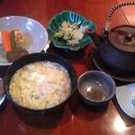 らく万 - コース料理の雑炊、カボスでさっぱりお召し上がりください!