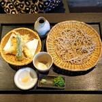 蕎麦の実 よしむら - 天ざる プラスメニュー 海老天丼 十割蕎麦
