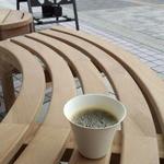 ドクターズカフェ - まあるいベンチが心地よいです。カップもおしゃれですねえ
