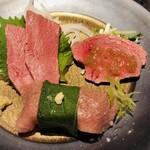 薩摩 うしのくら - 肉刺し3種盛り合わせ