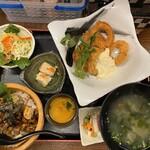 こはる食堂 - スルメイカフライ+穴子丼