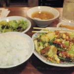 12185618 - 本日の定食(回鍋肉)とレモンサワー