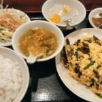 広州厨房 - ニラと豚細切りとまたごのフワフワ炒め800円税込