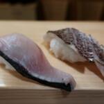 郷の鮨 たむら - サワラ&真鯛(炙り)