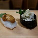 郷の鮨 たむら - ウニ&松葉蟹