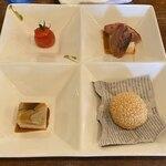 中華バルSAISAI。 - 前菜4種 プチトマトパクチーソース、胡麻団子、       きのこ寄せの胡麻豆腐、鴨の炙りカルパッチョ。