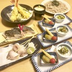 まち庵 - 料理写真:宴会4300円コース 飲み放題付き 自家製二八常陸秋そば 一回お代わり無料