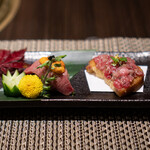 松阪牛 完全個室 肉割烹 WAGYU+  - 肉の握り、雲丹 牛のタルタルのカナッペ、トリュフ