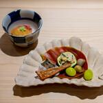 新ばし 星野 - 鯛の飯蒸し  柿なます かますの焼き物 ばちこ むかご 銀杏