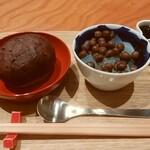 甘味おかめ - 豆かんおはぎセット